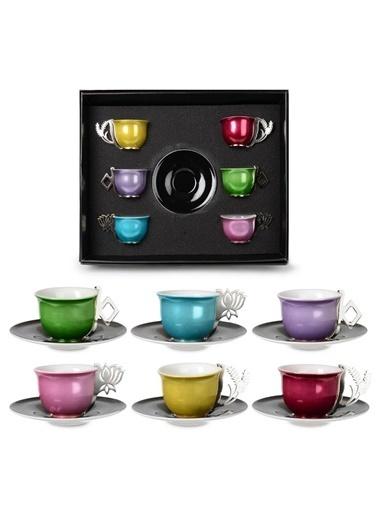 İpek Platin Kulplu Porselen Renkli 6'Lı Kahve Fincan Takımı Renkli